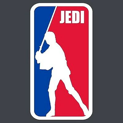 "2.5"" MAJOR LEAGUE JEDI. Funny vinyl bumper STICKER. Star Wars, Luke Skywalker."