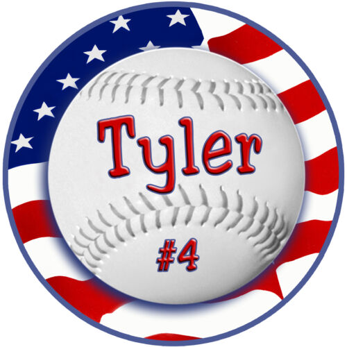 """2 Baseball USA Flag Vinyl Decals Stickers Personalize Any Text Waterproof 4/"""""""