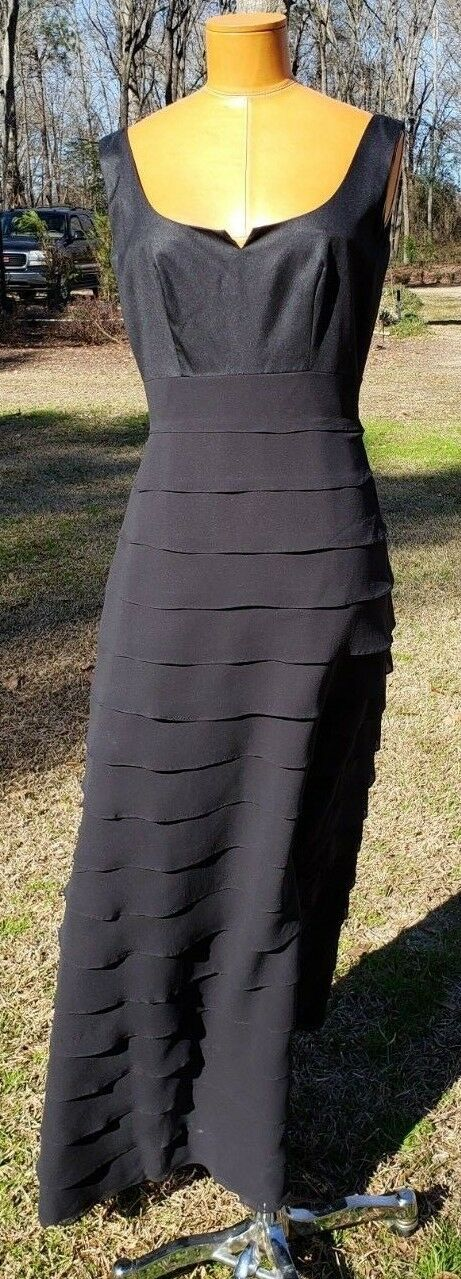 Silk schwarz Formal Long Gown Belsoie  USA 100% Silk Tierot Ruffles Gatsby EUC
