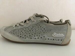 Details zu Rieker Sneaker, Schnürschuhe, Sommerschuhe, Leder, Grau Silber, Größe 40, NEU