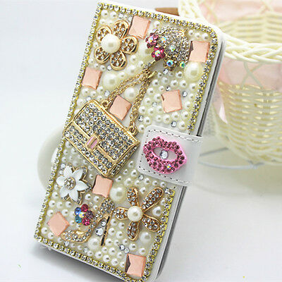 Handmade pearls Diamonds High heels bag PU leather slot wallet case cover for LG