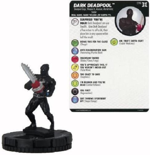 NM W// Card Dark Deadpool 016-Common Marvel HeroClix Deadpool and X-Force