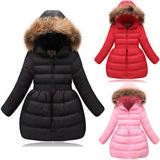 Girls Winter Jacket Childrens Umbrella Coat Fur Hoodie Zip Warm Windbreak Padded