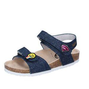 scarpe bambina SMILEY sandali blu tessuto BK506