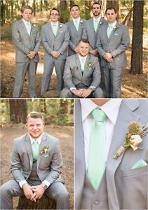 2016 Light Grey Groomsmen Suits Groom Tuxedos Notch Lapel Best Man ...
