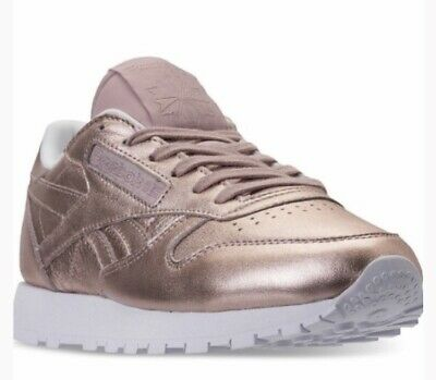 clon llenar Consciente de  Reebok Womens Classic Rose Gold Metallic Leather Sneaker 11 | eBay