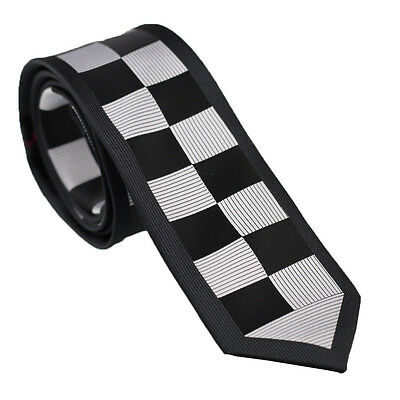 Coachella Ties Black Silver Checks Border Design Necktie Panel Skinny Tie 6cm