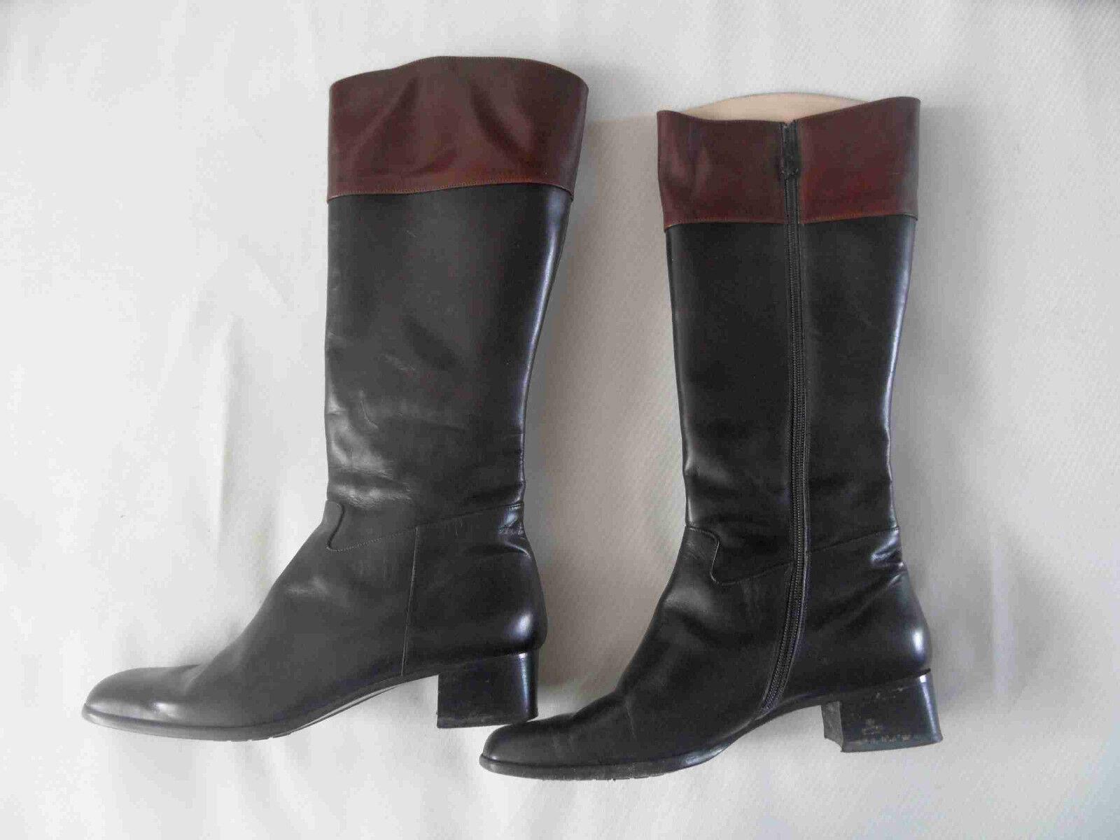 damen LAURA hoher schwarzer Luxus Stiefel feinstes Leder Gr. 40 TOP AF3