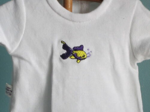 White T-Shirt features WHIMSICAL EMBROIDERED FISH fits all American Girl