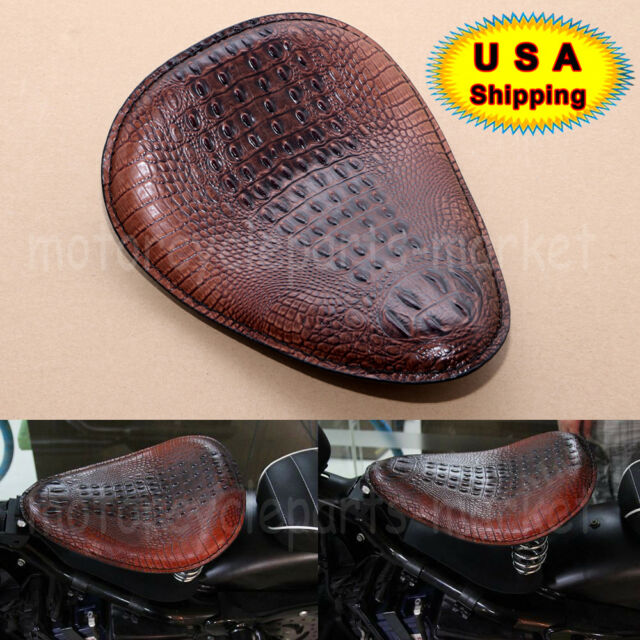Brown Alligator Emboss Leather Vintage SOLO Driver Seat For Harley Bobber Custom