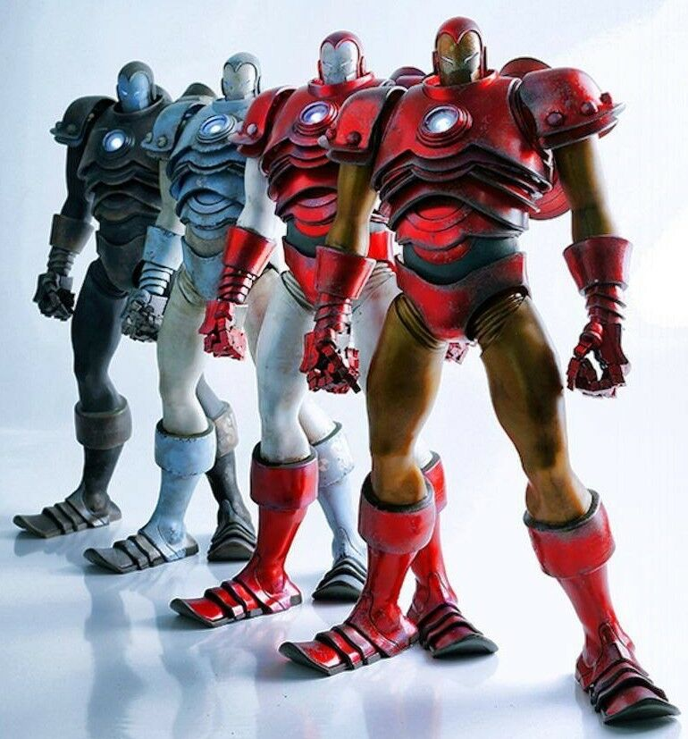 STARK HANGAR Invincible IRON MAN SET of 4 3A Exclusive Box Wood Marvel ThreeA