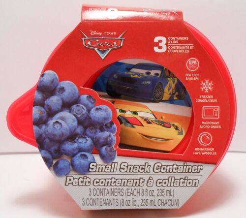 Storage Container DISNEY PIXAR CARS Small Snack 3 Piece Lunch Food Kit Reusable