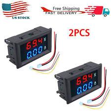 2pcs Dc100a 100v Digital Amp Volt Meter Voltmeter Ammeter Bluered Led Display
