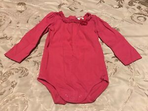 Osh Kosh Baby Girls Long Sleeve Bodysuit Size 6 12 24 Months Grey White Red