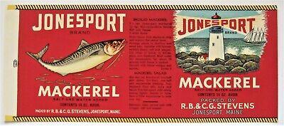 Jonesport Mackerel Fish Can Label Packed By Rb Cg Stevens Jonesport Maine Ebay