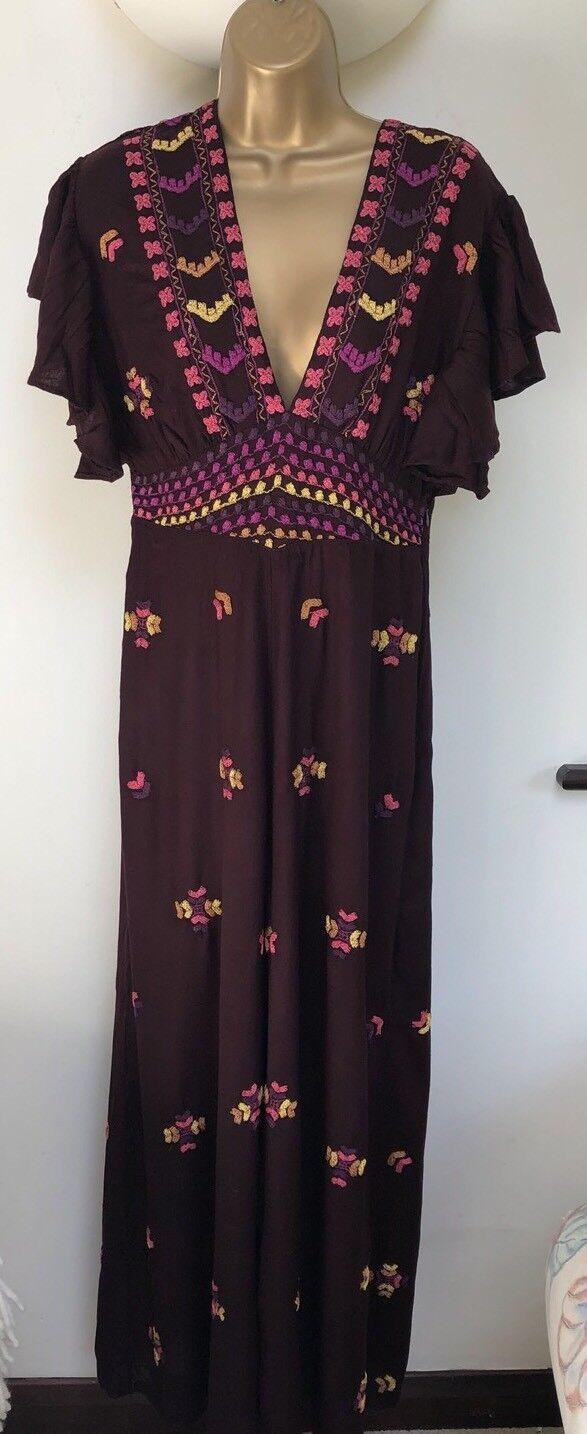 Free People Cleo Ember Jumpsuit Größe US6 UK10 Wine Colour