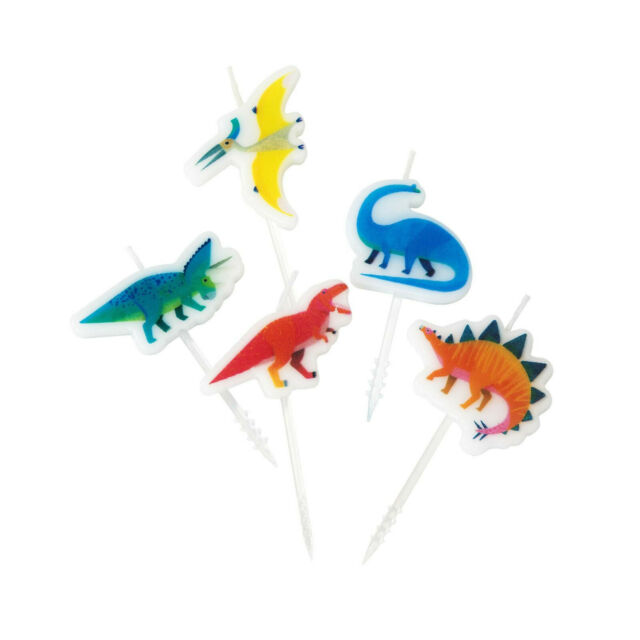Party Dinosaur Happy Birthday Candles Childrens Cake Topper Decoration New