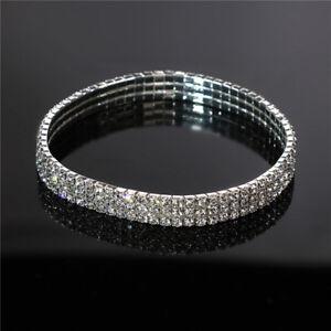 Women-Girl-Stretch-Bracelet-Chain-Three-Rows-Clear-Crystal-Silver-Gift-N7