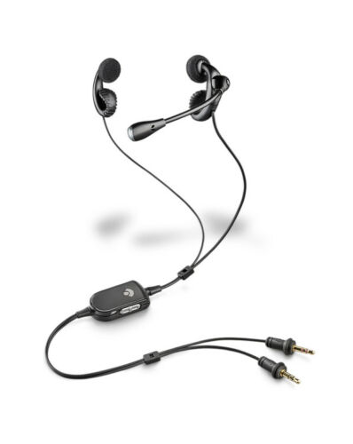 2 Plantronics Audio 450 Black Ear Hook Earbuds Headset For Voice