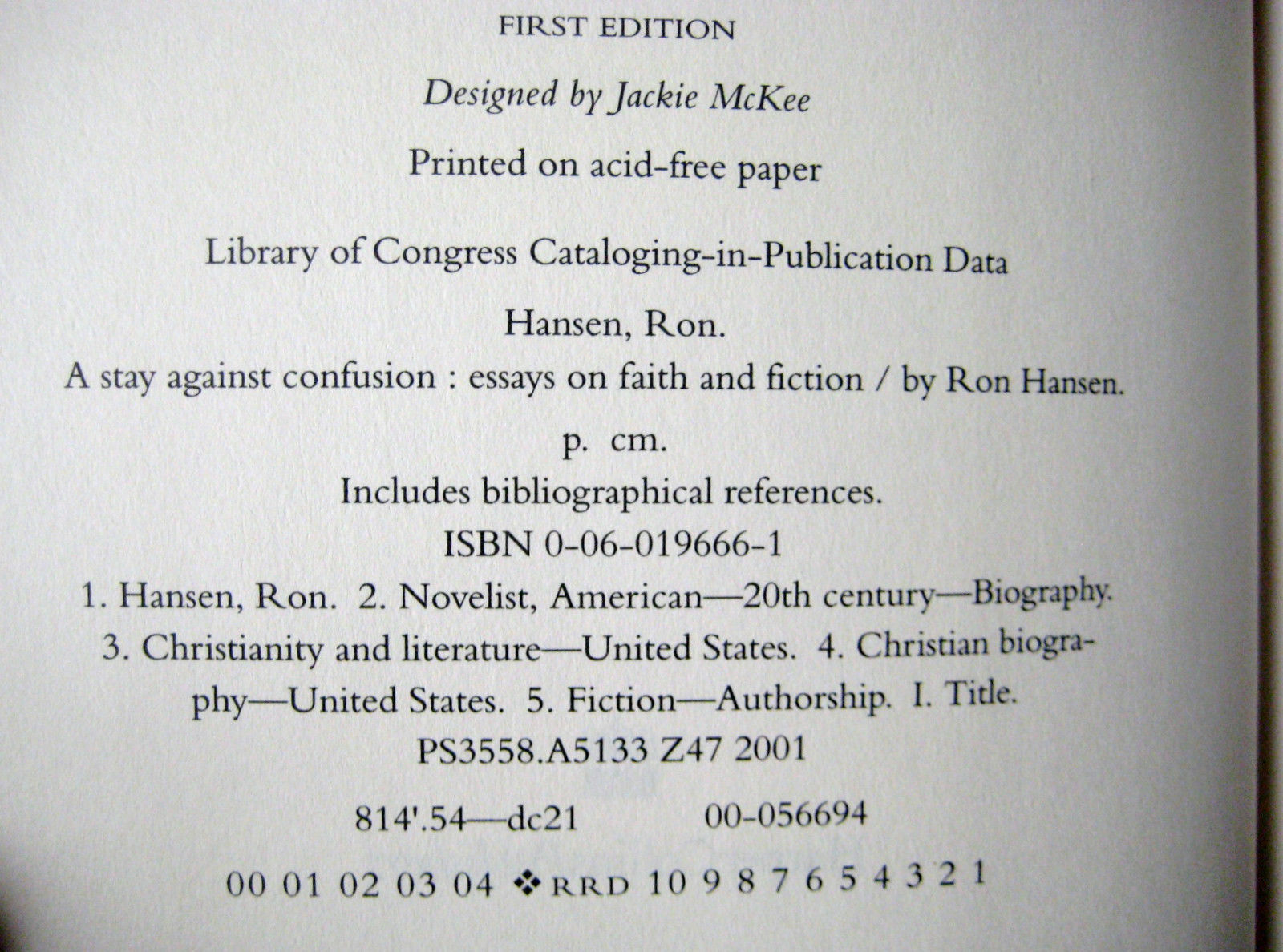 st edition a stay against confusion ron hansen essays faith  1st edition a stay against confusion ron hansen essays faith fiction first prt