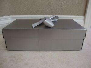 26a160a0eb6 NORDSTROM 13 X 7 X 4 SILVER SHOES BOX WITH TISSUE PAPERS   SILK ...