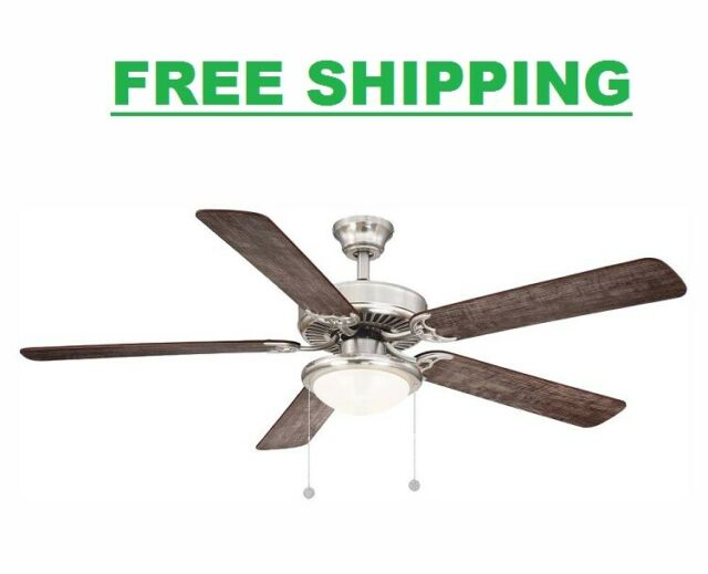 Ceiling Fan With Light Kit Led 56in Brushed Nickel 5 Blades Downrod Reversible For Sale Online Ebay