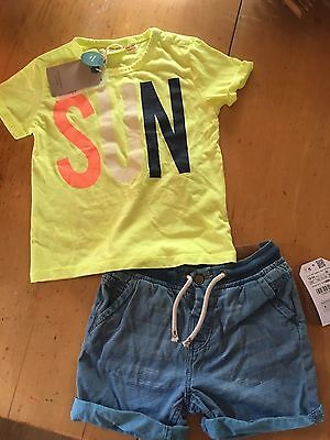 Zara Boys Toddler Neon T Shirt & Blue Nautical Shorts 18-24 m, 2-3T New w/ Tags!