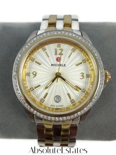 Michele Belmore Diamond Gold & Silver Two Tone Watch MWW29A000009 NIB Refurb