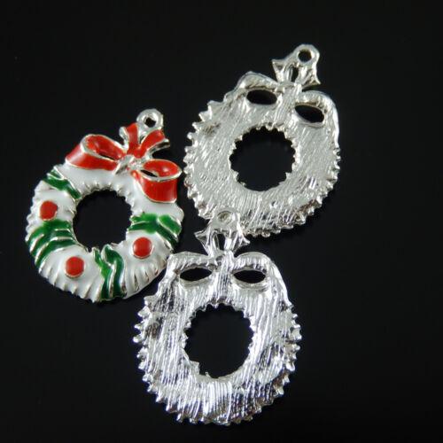 10pcs Silver Tone 36x20x4mm Xmas Wreath Enamel Alloy Pendants Charms Craft 38899