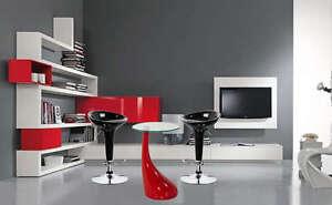 Tavolo in vetro abs rosso design per sgabelli bar abs rosso