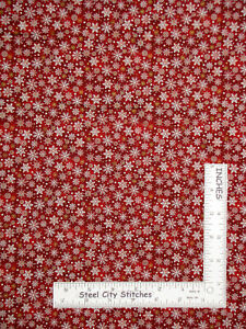 Christmas-Snowflakes-Winter-Snow-Holiday-Red-Cotton-Fabric-Oasis-By-The-Yard