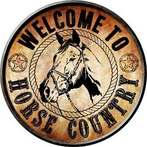 """Welcome To Horse Country 12/"""" Round Metal Sign Novelty Retro Man Cave Home Decor"""