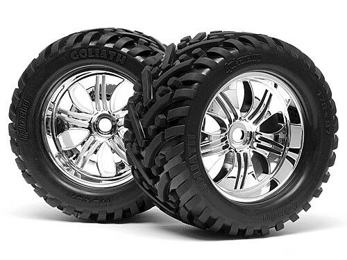 HPI RACING 4728 MOUNTED GOLIATH TYRE 178X97mm ON TREMOR WHEEL CHROME NEW