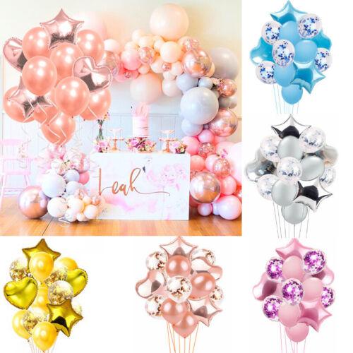 14pcs Rose Gold Star Heart Foil Balloons Wedding Decoration Latex Balloon Party