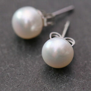Cultured-Freshwater-Pearl-Earrings-White-Cream-925-Sterling-Silver-Stud-Studs