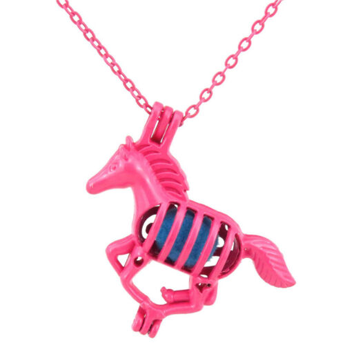 R43 Rose Chaud Plaqué Alliage Perles Cage Courte Collier 34 mm Running Horse