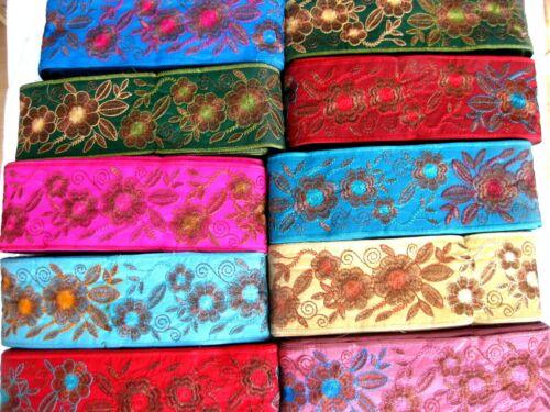 Borte mit aufgesticktem Muster in verschiedenen Farben B364 80mm breit lfm
