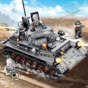 596pcs-DE-Militaer-IV-Panzer-Gepanzerter-Modell-Bausteine-mit-WW2-Soldat-Figuren