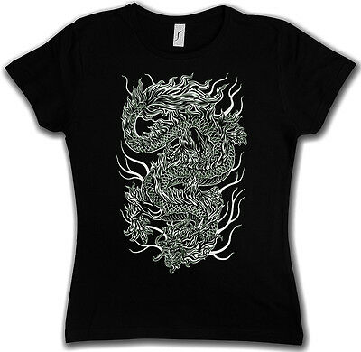 Chinese Tatuaggio Dragon malvagia Shirt-Asia Drago Flash Oldschool Rockabella Girl