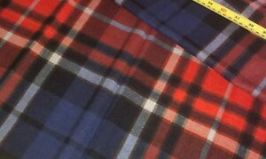 NEW-58 Inches Wide-100/% Cotton Fabric-Super Soft-Navy//Orange//White Tartan Fabric