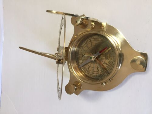 "Brass Sundial compass 3/"" Nautical Gift with Beautiful wooden Box USA Seller!!!"