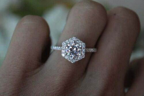 6.5mm Solitaire Round Moissanite Halo Engagement Wedding Ring 14k White Gold GP