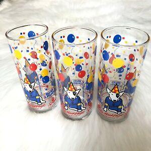Vintage-1987-BUDWEISER-Bud-Light-Spuds-MacKenzie-3-Drinking-Glasses