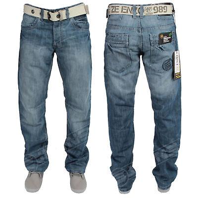 Mens Jeans Enzo 118 Designer Blue Straight Leg Regular Fit Pants Size 28 30 32