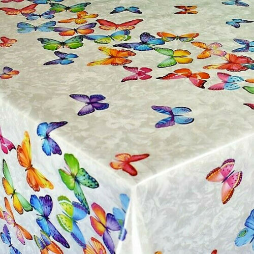 Wachstuch Tischdecke Schmetterlinge bunt Frühling B9069-01 eckig rund oval