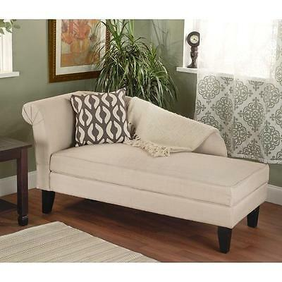 Beige Chaise Lounge Chair With Storage