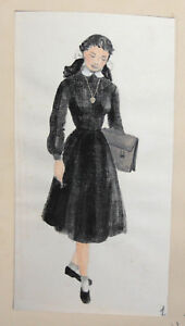 Vintage-Gouache-Painting-School-Girl-Theatre-Costume-Design-signed