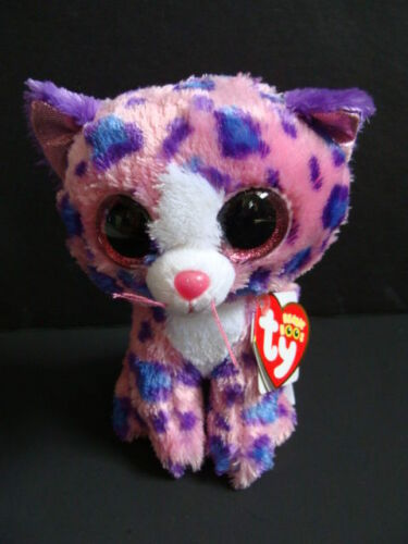"NWT TY Beanie Boos 6"" REAGAN Leopard Pink Cat Boo Claire's Exclusive Sparkly NEW"