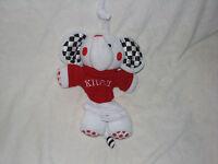 KIDS II RED BLACK WHITE ELEPHANT MUSICAL CRIB PULL TOY CRINKLE EARS LULLABY