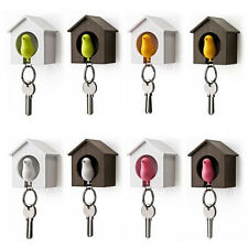 Bird Nest Sparrow House Key Chain Ring Chain Wall Hook Holders Whistle EW S